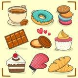 Schokoladenbonbons, -kuchen und -bäckerei Lizenzfreies Stockfoto