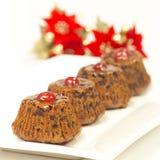 Schokoladenchip-Weihnachtsmuffins Lizenzfreie Stockbilder
