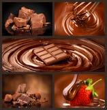 Schokoladencollagensatz Schokoladenklumpen, Süßigkeiten, Bonbons, Erdbeere in der Schokolade Design über dunklem Hintergrund lizenzfreie stockfotografie