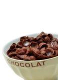 Schokoladencorn-flakes, -getreide und -milch Stockbilder