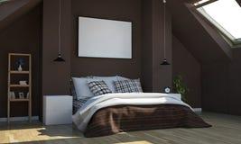 Schokoladenfarbschlafzimmer mit horizontalem Plakatmodell stockbild
