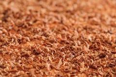 Schokoladenflocken, extremes Makro Schließen Sie oben von den feinen Schokoladenlocken stockfoto
