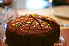 Schokoladengeburtstagkuchen Stockfotografie