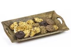 Schokoladenhaselnußmandel Stockfotos