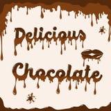 Schokoladenhintergrundschablone mit schmelzendem Effekt Stockbilder