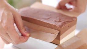 Schokoladenkäsekuchen im Backblech lizenzfreie stockfotografie