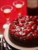 Schokoladenkäsekuchen-Kuchenvertikale stockbilder