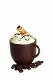 SchokoladenKaffeetasse und Kaffeebohnen. Stockfotografie