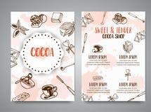 Schokoladenkakao-Skizzenbroschüre Entwerfen Sie Menü für Restaurant, Shop, die Süßigkeiten, kulinarisch, Café, Cafeteria, Bar kak lizenzfreie abbildung