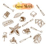 Schokoladenkakaoskizze Entwerfen Sie Menü für Restaurant, Shop, die Süßigkeiten, kulinarisch, Café, Cafeteria, Bar Vektorabbildun stock abbildung