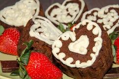 Schokoladenkleine kuchen Stockbild