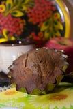 Schokoladenkleine kuchen mit Sauerrahm und Äpfeln Lizenzfreie Stockfotos