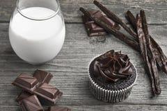 Schokoladenkleiner kuchen mit dunkler Schokoladenzuckerglasur, Vanilleschoten, choc Stockfoto