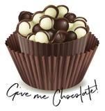Schokoladenkleiner kuchen mit Phrase geben mir Schokolade stock abbildung