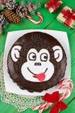 Schokoladenkuchen Affe Lizenzfreie Stockbilder