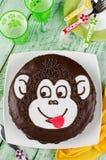 Schokoladenkuchen Affe Lizenzfreies Stockbild