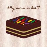 Schokoladenkuchen auf hölzernem Hintergrund Stockfoto
