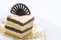 Schokoladenkuchen auf weißer Platte, Schokoladendekoration auf Kuchen, on-line-Shopphotographie, Konditorei, Süßspeise Stockfotografie