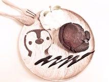 Schokoladenkuchen der flüssigen Lava mit Schlagsahne Lizenzfreies Stockfoto