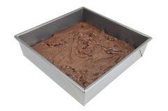 Schokoladenkuchen in der Wanne Stockbilder