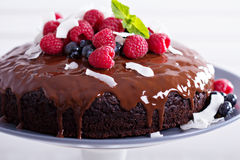Schokoladenkuchen des strengen Vegetariers Lizenzfreies Stockbild
