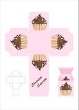 Schokoladenkuchen-Geschenkkasten Stockfotografie