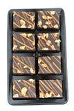 Schokoladenkuchen getrennt auf Weiß Stockbilder