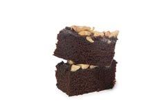 Schokoladenkuchen lokalisiert auf weißem Hintergrund Stockfotos