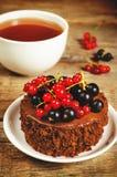 Schokoladenkuchen Mini mit den roten und Schwarzen Johannisbeeren Lizenzfreie Stockfotos