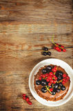 Schokoladenkuchen Mini mit den roten und Schwarzen Johannisbeeren Stockfoto