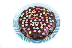 Schokoladenkuchen mit Alleswissern Lizenzfreies Stockbild