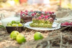 Schokoladenkuchen mit Beeren Stockfoto