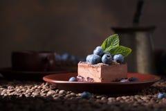 Schokoladenkuchen mit Blaubeeren und Minze stockbild