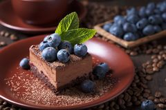 Schokoladenkuchen mit Blaubeeren und Minze stockfotografie