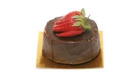 Schokoladenkuchen mit Erdbeere Stockfotografie