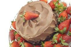Schokoladenkuchen mit Erdbeeren auf Weiß Stockfotos
