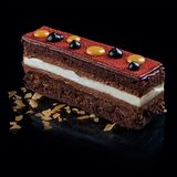 Schokoladenkuchen mit französischem Zefir lizenzfreie stockfotografie