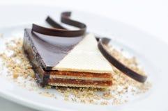 Schokoladenkuchen mit Kaffeebohnen auf weißer Platte, Süßspeise, Konditorei, Shop, Kakaopulver Stockfotografie