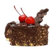 Schokoladenkuchen mit Kirsche Stockbilder