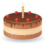 Schokoladenkuchen mit Kirschen und brennender Kerze VE Lizenzfreie Stockfotos