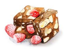 Schokoladenkuchen mit Mandelscheibe und -erdbeere Lizenzfreies Stockbild