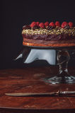 Schokoladenkuchen mit Marzipan und Himbeeren Lizenzfreies Stockbild