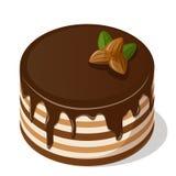 Schokoladenkuchen mit Muttern Stock Abbildung