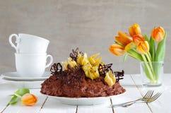 Schokoladenkuchen mit Physalis Stockfoto