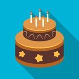 Schokoladenkuchen mit Sternikone in der flachen Art auf weißem Hintergrund Backt Vektorillustration des Symbols auf Lager zusamme Lizenzfreie Stockbilder