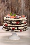 Schokoladenkuchen mit weißer Creme und frischen Früchten Stockfotos