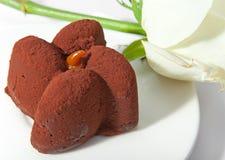 Schokoladenkuchen und Weißrose lizenzfreie stockfotografie