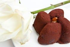 Schokoladenkuchen und Weißrose lizenzfreies stockbild