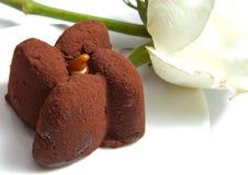 Schokoladenkuchen und Weißrose. Abschluss oben lizenzfreie stockbilder