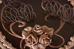 Schokoladenkuchenabschluß oben Schokoladen-Gebäck-Dekorationen stockfotos